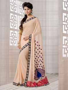 Fabric : S- Pure Georgette  B- Banarsi Brocade  Size : Saree-5.50 m Blouse-0.80 m  Work : Embroidered  Style : Saree