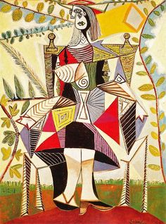 art-Walk seated woman in a garden Picasso