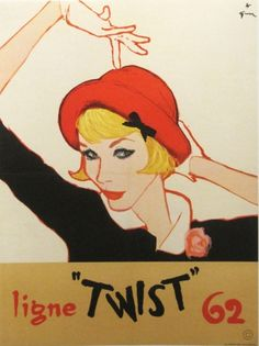 Rene Gruau • fashion illustration • red and black • red hat, black dress