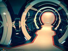 SciFi Spaceship Corridor, Hallway - Hard Surface 3D Modeling, Anton Cermak on ArtStation at https://www.artstation.com/artwork/6XNz5
