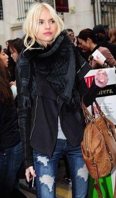 #fall #fashion / black + denim
