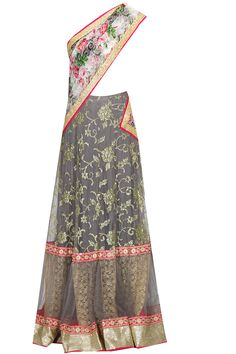 Grey and white floral print embroidered lehenga saree with blouse piece available only at Pernia's Pop Up Shop.