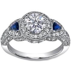 Like style--not size Engagement Ring - Round Diamond Halo Pave Engagement ring trillion blue sapphire accents - ES920BRWG