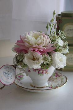 Vintage Tea Cup Arrangement. www.amborella.ca