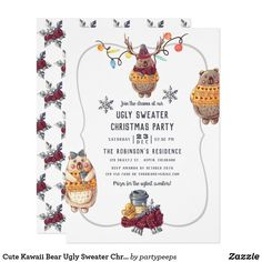 Cute Kawaii Bear Ugly Sweater Christmas Party Invitation Tacky Sweater, Ugly Sweater Party, Ugly Christmas Sweater, Holiday Parties, Holiday Fun, Christmas Holidays, Christmas Party Invitations, Cute Bears, Colored Envelopes