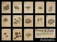 Trees on Maps Reference by Djekspek map cartography painting drawing icons symbols resource tool how to tutorial instructions | Create your own roleplaying game material w/ RPG Bard: www.rpgbard.com | Writing inspiration for Dungeons and Dragons DND D&D Pathfinder PFRPG Warhammer 40k Star Wars Shadowrun Call of Cthulhu Lord of the Rings LoTR + d20 fantasy science fiction scifi horror design | Not Trusty Sword art: click artwork for source