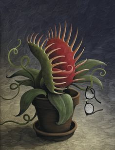"""""""Theater poster for a production of Alan Menken and Howard Ashman's Little Shop of Horrors, a 1986 musical about a hapless flower shop emp. Illustration Inspiration, Illustration Art, Plant Monster, Broadway Posters, Horror Pictures, Graffiti Designs, Little Shop Of Horrors, Communication Art, Plant Drawing"""