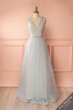 Bohai Light Blue Lace & Tulle Maxi Gown | Boudoir 1861