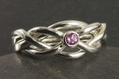 Pink sapphire narrow puzzle ring