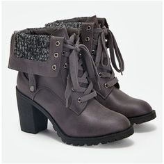 Justfab Booties Reggina ($43) ❤ liked on Polyvore featuring shoes, boots, ankle booties, grey, gray booties, grey booties, fold-over combat boots, military boots and grey combat boots