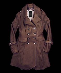 4229cfbaa3 Another great find on  zulily! Dark Olive Wool-Blend Trench Coat - Women