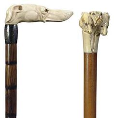 TWO VICTORIAN IVORY CANES