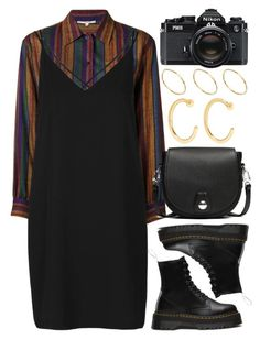 """""""Untitled #6300"""" by rachellouisewilliamson ❤ liked on Polyvore featuring Yves Saint Laurent, Topshop, Dr. Martens, rag & bone, Melissa Joy Manning, Nikon and ASOS"""