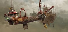 concept ships: Ian McQue concept ship art and model Norman Rockwell, Concept Ships, Concept Art, Image Digital, Digital Art Gallery, Flying Boat, Flying Ship, Matte Painting, Design Graphique