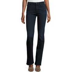 Jen7 Riche Touch Slim Straight Jeans (510 BRL) ❤ liked on Polyvore featuring jeans, dark blue denim, mid rise straight jeans, slim jeans, slim fit jeans, 5 pocket jeans and faded jeans