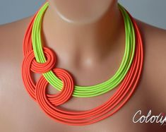 Statement colourful necklaces and jewelry Colorika por COLORIKA Navy Necklace, Orange Necklace, Fabric Necklace, Knot Necklace, Tribal Necklace, Beaded Necklace, Necklaces, Neon Jewelry, Etsy Jewelry