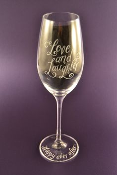 Personalised champagne glass for wedding, Valentines Day, Mother's Day etc by CoveCalligraphy