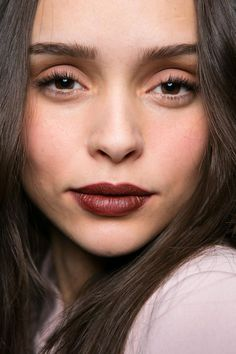 13 Must-See Beauty Trends from Milan Fashion Week Spring 2016 | Deep burgundy berry lips, naturally flushed cheeks, and perfectly brushed-up brows. | @StyleCasterBeauty