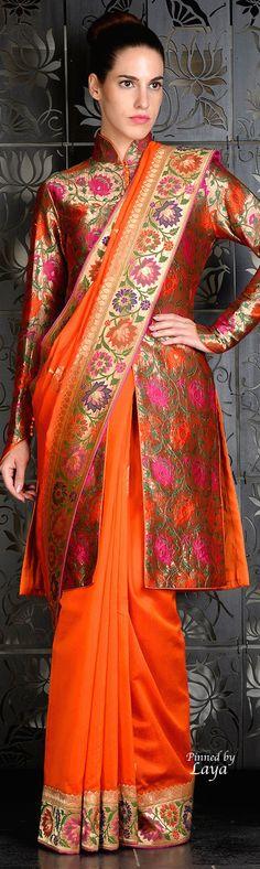Rohit Bal 2015❋Laya❋ banarasi jacket with banarasi saree a perfect combination !