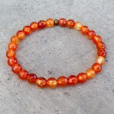 Genuine faceted carnelian gemstone bracelet, to represent the second chakra. Carnelian, orange: Sacral Chakra - Our connection and ability to accept others and new experiences. Carnelian, a stabilizing stone, Carnelian restores vitality and motivation, and stimulates creativity. It gives courage, promotes positive life choices, dispels apathy and motivates for success. SIZING and MEASUREMENTS: SMALL: 6.5 inches/ 16.5cm MEDIUM: 7.25 inches/ 19cm LARGE: 8 inches/ 20 cm custom sizing: let us know y Chakra Necklace, Chakra Jewelry, Gemstone Jewelry, Beaded Jewelry, Beaded Bracelets, Necklaces, Second Chakra, Carnelian, Sacral Chakra