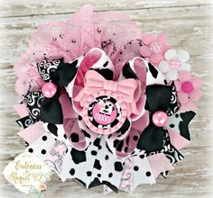 """Cute Cow"" Boutique Bow Where The Wild Things Are An Auction Style Event Opens 5/12/15 at 5 PM CST Closes at 5/14/15 at 9 PM CST Purchase Here: www.facebook.com/dollhousedesigngroup"