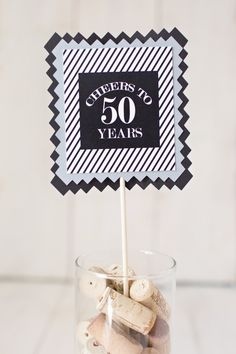50th Birthday Party Centerpiece Sticks. Set of 4 / black / white, Masculine stripe. Customizable. Any Age. by CharmingTouchParties on Etsy