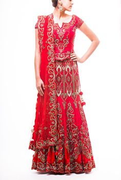 Scarlet Red Bridal Lehenga with zardozi embroidery highlighted with topaz and silver crystal.