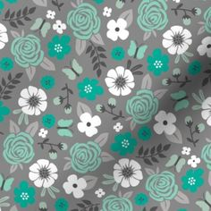 Blooms Fabric - Flowers And Roses Floral In Mint Green On Gray By Caja Design - Blooms Mint Gray Cotton Fabric By The Metre by Spoonflower Double Gauze Fabric, Cotton Twill Fabric, Fleece Fabric, Satin Fabric, Custom Fabric, Grey Fabric, Fabric Flowers, Mint Green, Spoonflower