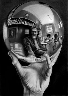 Escher Kunst, Escher Art, Mc Escher, Illusion Kunst, Illusion Art, Art Sketches, Art Drawings, Escher Drawings, Pencil Drawing Tutorials