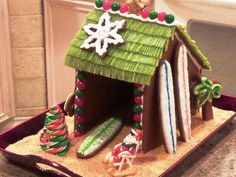 Gingerbread Surf Shack My husband is an avid surfer, so he gets his own palapa every Christmas! Tropical Christmas, Beach Christmas, Christmas In July, Holiday Fun, Christmas Crafts, Coastal Christmas, Xmas, Christmas Sweets, Christmas Cooking