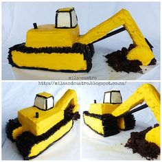 mila + cuatro: How to make a digger cake [Excavator cake] I'm going to attemp. mila + cuatro: How to make a digger cake [Excavator cake] I'm going to attempt to make it Digger Birthday Cake, Digger Cake, 3rd Birthday Cakes, Digger Party, Birthday Ideas, Cake Cookies, Cupcake Cakes, Cupcakes, Construction Party Cakes