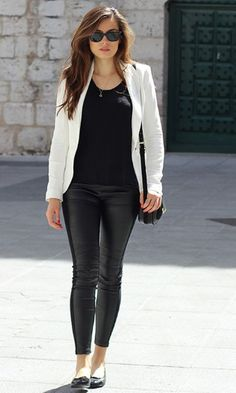 """Would love to try a white blazer and """"leather"""" legging/pant"""