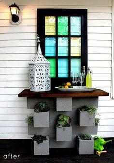 Bar made w/u besser bricks (cinder blocks)