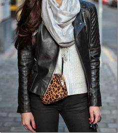 Biker jacket and leopard bag