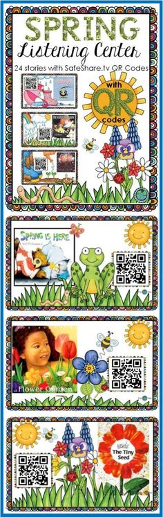 A Spring Listening Library: Included are 24 stories with SafeShare. All SafeShare.tv QR code links are safe to share with children without being afraid that they can get to potentially inappropriate content. Great resource for Daily 5 centers: First Grade Activities, Spring Activities, Book Activities, Daily 5 Centers, Literacy Centers, Listen To Reading, Guided Reading, Read To Someone, Just Right Books