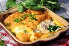 Rybí filé zapečené se špenátem Cauliflower, Sushi, Chicken, Vegetables, Diet, Pisces, Cauliflowers, Vegetable Recipes, Cucumber