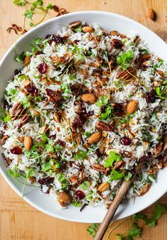 Chances are you have everything you need to make our Cranberry Rice w/ Crispy Shallots and Nuts. Don't have cranberries? Any dried fruit works! No shallots? Use onions! Healthy Meat Recipes, Nut Recipes, Vegetarian Recipes, Cranberry Rice, Shallot Recipes, Great Dinner Recipes, Crispy Shallots, Dinner Side Dishes, Thanksgiving Sides