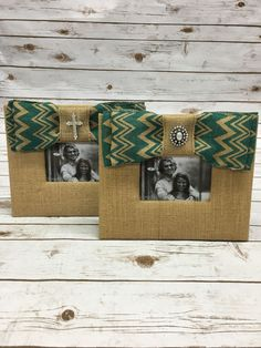 Burlap Picture Frame with Teal Chevron Burlap Bow