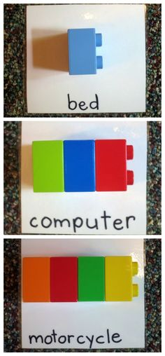 "Lego Syllable Counting Activity from ""This Reading Mama"" (To support phonemic awareness needs, I'd include a picture along with the printed word.)"