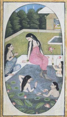 UEA 874 Ladies bathing in a zanana garden - 75 India, Punjab Hills, Guler School Acquired 1983 Mughal Miniature Paintings, Mughal Paintings, Indian Paintings, Indiana, Krishna, Hindu Art, Ottoman, Orient, Ancient Art