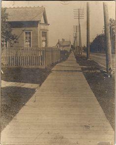 Wooden sidewalk on Gratiot Avenue Detroit Downtown, Detroit Rock City, Detroit Michigan, History Articles, Detroit History, Port Huron, Great Lakes, Old Pictures, The Neighbourhood