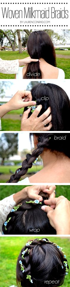 Woven Milkmaid Braids DIY Feather Barrett by Lauren Conrad & Allison Norton (Music Festival Hairstyles)