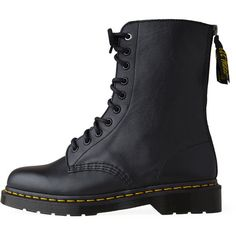 Y's Dr. Martens Boots ($256) ❤ liked on Polyvore featuring shoes, boots, ankle booties, combat boots, schuhe, black lace up booties, leather lace up booties, lace up combat boots, leather boots and black leather ankle booties