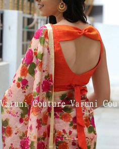blouse designs Beautiful bow back blouse by Designer Blouse Ideas . Tag your picture with Blouse Designs High Neck, Simple Blouse Designs, Stylish Blouse Design, Fancy Blouse Designs, Sari Blouse Designs, Designer Blouse Patterns, Designs For Dresses, Bridal Blouse Designs, Sari Bluse