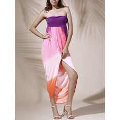 Bohemian Strapless Color Block Hollow Out Slit Dress For Women $21.69