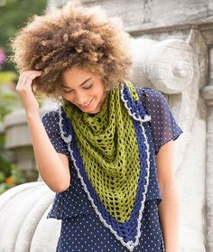 Light & Lacy Shawl Free Crochet Pattern in Red Heart Fashion Soft yarn -- This lightweight yarn is perfect for a wrap that you'll wear all year! Choose three shades of this smooth yarn and crochet a versatile accessory for day or evening.