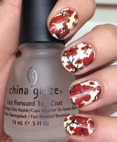 becktasm:  China Glaze nail polish strips in Cherry Blossom