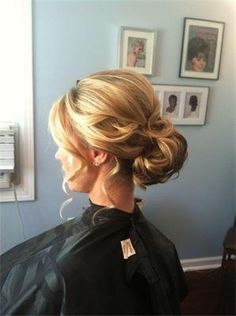 Love this updo... Would be so pretty on Tiffanie with her tiara nestled right at the start of the slight poof!