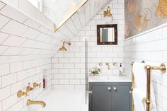 Of course it's easy to create a gorgeous bathroom when you have a ton of room, but working with a smaller space can be a bit of a challenge. If you're remodeling a smaller bathroom and feel a bit hemmed in, then take a look at these blah tiny bathrooms th Modern Bathroom Tile, Bathroom Interior Design, Bathroom Flooring, Gold Bathroom, Bathroom Ideas, Sloped Ceiling Bathroom, Bathroom Tiling, Bathroom Spa, Tiny Bathrooms