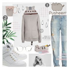 """""""♠ Pusheen to the limit!"""" by paty ❤ liked on Polyvore featuring H&M, Pusheen, Moschino, Old Navy, Ray-Ban, contestentry and PVx"""